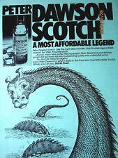 "Loch Ness Monster 1979 Peter Dawson Scotch Original Print Ad 8.5 x 11"" Green"