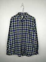 VINTAGE MENS FLANNEL SHIRT CHAPS SIZE XL BLUE CHECK LONG SLEEVE BUTTON UP TOP