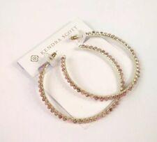 Kendra Scott Birdie Stone Hoop Earrings Gold Pink Rhodonite New $95