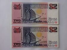 Singapore $2 Ship Purple (PERFECT UNC) 2pcs Running Number HF 896394 - 5