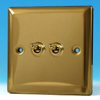 Varilight 2 Gang 10A 1 or 2 Way Dolly Toggle Light Switch Victorian Brass XVT2