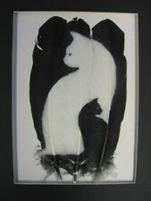 Black & White Cats - Russ Abbott Hand Painted Three Feather - COMMISSIONED