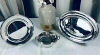 CHRISTOFLE RIBBONS Louis XVI Flatware dish sauce gravy boat Dishes Tray set X3 B