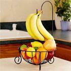 2 In 1 Black Banana Hook Hanger Tree Fruit Bowl Basket Stand Apple Orange Holder