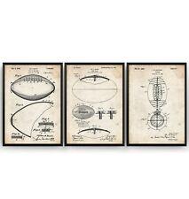 American Football Set Of 3 Patent Prints - NFL Poster Art Decor Gift - Unframed