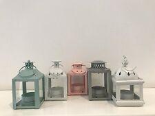 Set Of 5 Pastel Vintage Style Cut Out Metal Lantern Tea Light Candle Holder