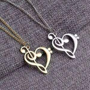 G Clef and F Clef Heart Shape Necklace Silver and Gold - Music Gift