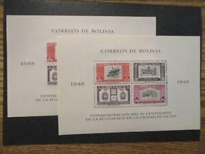 1951 Bolivia S#349-A&B s/s pair  (LaPaz Founding Anniv) perfed & imperfed MNH OG