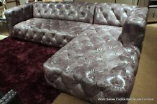 """118"""" sectional Vintage gray leather Tufted Sofa LSF loveseat RSF chaise modern"""