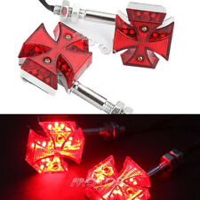 2x Red Motorcycle Maltese Cross Red Turn Signals Tail Lights For Yamaha