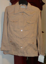 M NWT Ladies Womens JH Collectibles Soft Harmonies Top Shirt Beige Long Sleeve