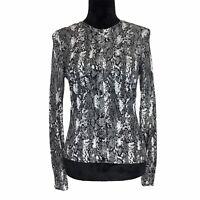 Cache Large M Cardigan Sweater Knit Top White Black Snake Print Long Sl Stretch