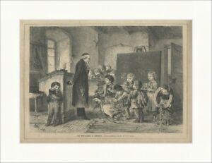Die Martinsgans in Schwaben Offterdinger Tafel Schule Brauch Holzstich E 22523