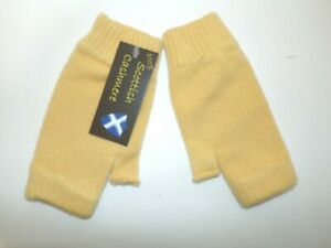 Scottish 4 ply pure UK cashmere knitted wrist warmers fingerless mitts Yellow