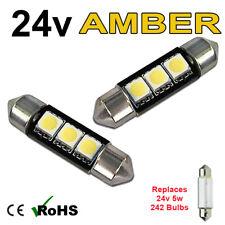 2 x Amber 24v 39mm Festoon Interior Plate Light 242 C5W 3 SMD Bulbs HGV Truck