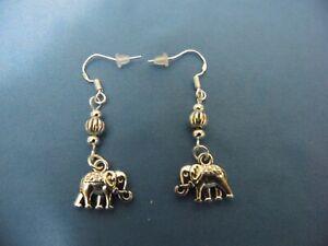 NEW TIBETAN SILVER ELEPHANT EARRINGS, S-PLATED BEADS, STERLING HOOK, FREE SHIP