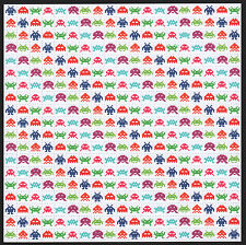 SPACE INVADERS WHITE BLOTTER ART WITH LARGE 1CM SQUARES, ALSO AVAILABLE IN BLACK