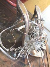 NEIMAN MARCUS Frances COSACCO,MD ITALY,Swarovski CRYSTALS,Silver,Evening heels