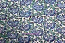 5 Yards soft Cotton Indian Fabric Blue Hand Block printed fabric Cambric NKHB25