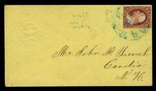 US 1860 Washington 3c on ADVERTISING cvr to NY - DARTMOUTH COLLEGE class of 1860