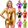 Women Lingerie Metallic Shiny Bodycon Long Sleeve Backless Night Club Mini Dress
