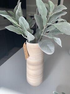 Light Stone Whitewashed Vase Natural Distressed Stoneware Home Decor