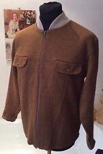 vintage 1960's unworn ex Wakefields Stores khaki brown wool zipper cardi  mod L