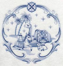 "DELFT BLUE CHRISTMAS NATIVITY ANIMALS 8"" MACHINE EMBROIDERED QUILT BLOCK (HP)"