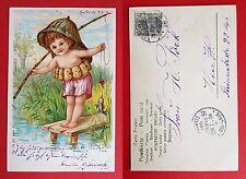 Künstler Litho AK 1904 Kind beim angeln mit Fisch    ( 20315