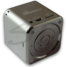 SA-101 BT JAY-tech Mini Bass Cube Bluetooth Lautsprecher silber Mp3 Player Akku