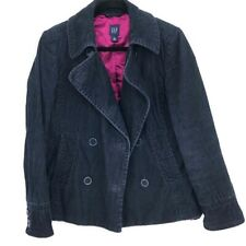 Gap blue corduroy double breasted pea coat L 100% Cotton