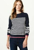 M&S Navy White Pink Striped Round Neck Jumper Casual Nautical Womens Ladies 6-18