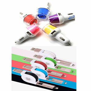 GLOW ROSE DUAL USB CAR CHARGER & 2in1 RETRACTABLE DATA SYNC CABLE