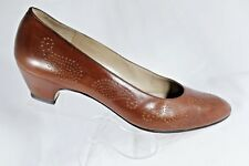Salvatore Ferragamo Brown Leather Pump Heels Womens Shoes Size 10AAAA Italy