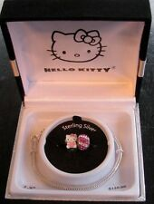 Hello Kitty Box, Sterling Silver 7.5 Inch Bracelet & Charm Beads with Crystals