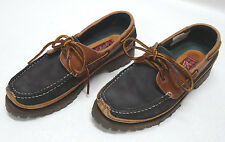 WOOLRICH WOMENS BLACK/BROWN LEATHER LOAFERS - SIZE 8US/39EU/6UK - EUC