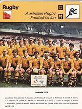 RUGBY carte fiche photo équipe AUSTRALIE 1976