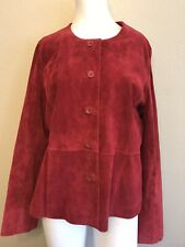 Pursuits Ladies Size 16 Red Suede Jacket Leather Blazer Lined Coat