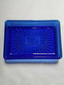 The Pioneer Woman Embossed Glass Cobalt Blue Soap Dish Bath & Kitchen