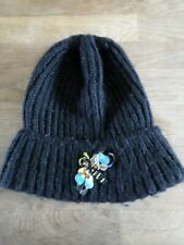 Ladies Primark Black Knitted Beanie Hat with sequin dragonfly - One Size