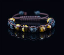 Classic Armband | Herren Shamballa Tigerauge Lava Halbedelstein Perlen Runde