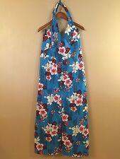 VTG Women's HANDMADE Red White Blue HAWAIIAN Aloha MAXI DRESS Size M L Muu Muu