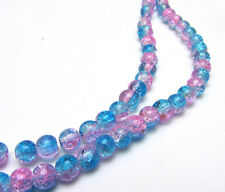 New 6MM 50pcs  Round Crackle Art Crystal Glass Spacer Charm Beads Blue-Pink