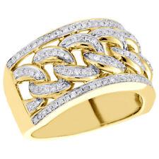 10K Yellow Gold Miami Cuban Link Mens Real Diamond Pave Pinky Ring Band 0.80 CT.