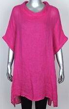 New Ladies Italian Cowl Neck Boxy Plain Casual Quirky Linen Lagenlook Tunic Top