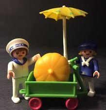Vintage Playmobil 5402 Sailor Boy & Girl With Green Wagon & Pumpkin 1998