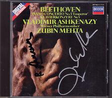 Vladimir ASHKENAZY & Zubin MEHTA Signed BEETHOVEN Piano Concerto No.5 Emperor CD