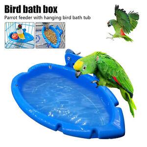 Cute Bird Bath Tub Bowl Basin Parrot Cage Hanging Bathing Tub Blue NEW