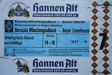 Billet 1985/86 Bore. Mönchengladbach-Bayer Leverkusen