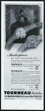 1945 Tourneau chronograph and Tournograph 2 watch photo vintage print ad